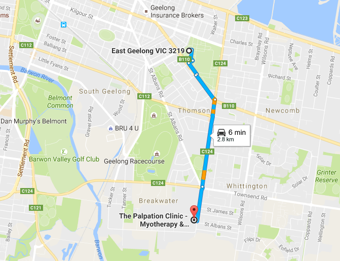 east-geelong-to-the-palpation-clinic-map