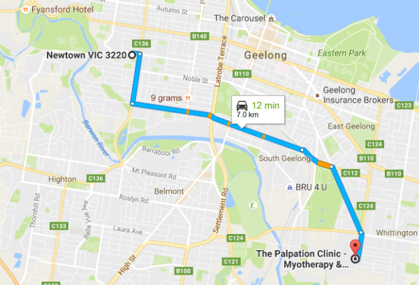 newtown-to-the-palpation-clinic-map